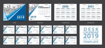 Mallen 2019, uppsättningen för skrivbordkalendern av 12 månader, Calendar 2020-2021 konstverk, stadsplaneraren, veckastarter på s royaltyfri illustrationer