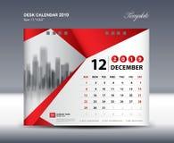 Mallen 2019, vecka för den DECEMBER skrivbordkalendern startar söndag, brevpapperdesignen, reklambladdesignvektorn, idérik idé fö vektor illustrationer