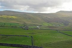 Mallerstang and the Eden Valley countryside views. Mallerstang and the Eden Valley Green fields and water meadows with fell behind in Cumbria United Kingdom stock image