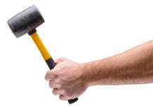 Mallet in hand isolated Royalty Free Stock Image
