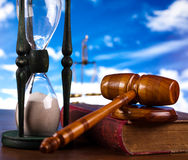 Mallet of judge, legal code and scales.  Royalty Free Stock Images