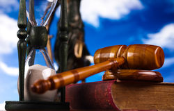 Mallet of judge, legal code and scales.  Stock Images
