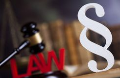 Mallet, Law, legal code and scales of justice concept and paragraph sign. Paragraph, law theme, mallet of judge, wooden gavel stock photo
