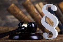 Mallet, Law, legal code and scales of justice concept and paragraph sign. Paragraph, law theme, mallet of judge, wooden gavel royalty free stock photo