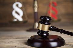 Mallet, Law, legal code and scales of justice concept and paragraph sign. Paragraph, law theme, mallet of judge, wooden gavel royalty free stock image