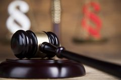 Mallet, Law, legal code and scales of justice concept and paragraph sign. Paragraph, law theme, mallet of judge, wooden gavel stock photography