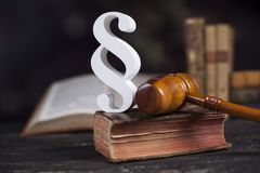 Mallet, Law, legal code and scales of justice concept and paragraph sign. Paragraph, law theme, mallet of judge, wooden gavel stock images