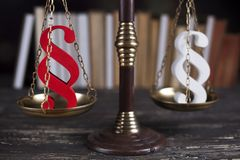 Mallet, Law, legal code and scales of justice concept and paragr. Paragraph, law theme, mallet of judge, wooden gavel Stock Photo