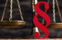 Paragraph sign, Mallet, Law, legal code of justice concept. Mallet, Law, legal code and scales of justice concept and paragraph sign royalty free stock photography