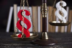 Paragraph sign, Mallet, Law, legal code of justice concept. Mallet, Law, legal code and scales of justice concept and paragraph sign Stock Image