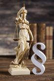 Statue of lady justice, Law concept and paragraph. Mallet, Law, legal code and scales of justice concept and paragraph sign stock photo