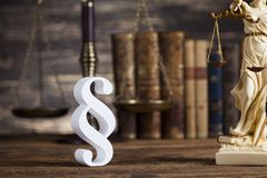 Statue of lady justice, Law concept and paragraph. Mallet, Law, legal code and scales of justice concept and paragraph sign stock images