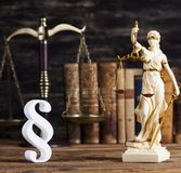 Statue of lady justice, Law concept and paragraph. Mallet, Law, legal code and scales of justice concept and paragraph sign royalty free stock images