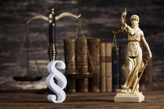Statue of lady justice, Law concept and paragraph. Mallet, Law, legal code and scales of justice concept and paragraph sign royalty free stock photo