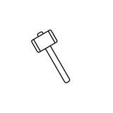 Mallet line icon, build repair elements, stock illustration