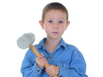 Mallet Man. Boy with a rubber mallet Royalty Free Stock Photos