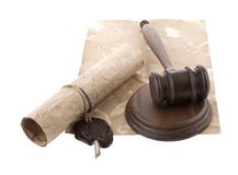 Mallet and old paper Stock Photos