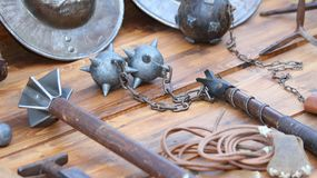 Mallet and other medieval weapons during the reenactment. Of middle ages Royalty Free Stock Image