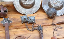 Mallet and other medieval weapons during the reenactment. Of middle ages Stock Photo