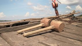 Mallet, wood, boat, mekong,cambodia, southeast asia Royalty Free Stock Photography