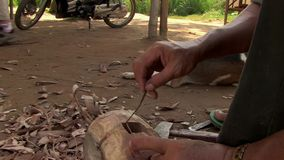 Mallet, wood,  cambodia, southeast asia stock footage