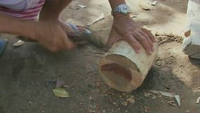 Mallet, wood, homemade, cambodia, southeast asia stock video footage