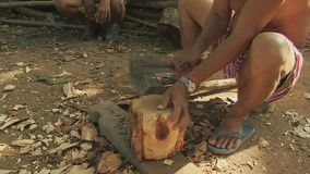 Mallet, wood, homemade, cambodia, southeast asia stock video