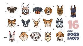 Malletikettdesign med olika avel av hundkapplöpning stock illustrationer