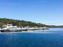 Mallets Bay Marina. This is a view of Mallets Bay Harbor from the water of Lake Champlain, Vermont Stock Image