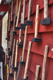 Mallets and hammers. Hanging on the call or a wooden building Royalty Free Stock Images