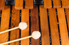 Mallets on marimba. Full frame take of two mallets resting on the keys of  a marimba Stock Photography