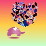 Mallhälsningkort med elefanten Arkivfoton