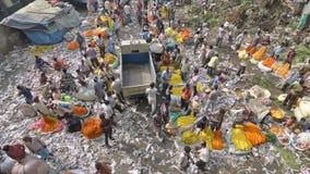 Mallik Ghat blommamarknad i Kolkata, västra Bengal, Indien arkivfilmer