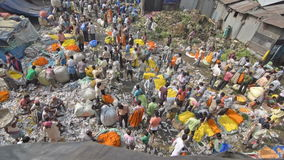 Mallik Ghat flower market in Kolkata, West Bengal, India. KOLKATA, WEST BENGAL / INDIA - FEBRUARY 13TH : Top view of busy ,crowded and colorful Mallik Ghat stock video footage