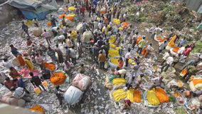 Mallik Ghat flower market in Kolkata, West Bengal, India. KOLKATA, WEST BENGAL / INDIA - FEBRUARY 13TH : Top view of busy ,crowded and colorful Mallik Ghat stock video