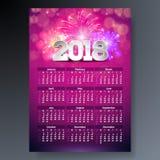 Mallillustration för 2018 kalender med numret 3d på skinande fyrverkeribakgrund Veckastarter på söndag för designeps för 10 bakgr Royaltyfri Fotografi