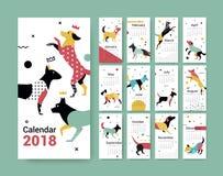 Mallkalender 2017 med en hund i Memphis stil stock illustrationer
