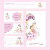 Mallkort och baner med kvinnan i turban Royaltyfri Illustrationer