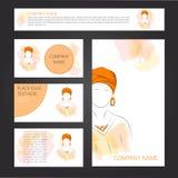Mallkort och baner med kvinnan i turban Vektor Illustrationer