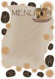 Mallmeny för ett kaffehus Knäcka på en bladbakgrund och kaffebönor royaltyfria bilder
