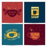 Mallmeny för fastställd design, kort, affisch med retro tappninglogoer för coffee shop Royaltyfri Foto