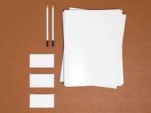 Mallmodell för företags identitet på lädersubstraten vektor illustrationer