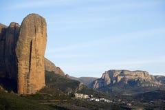 Mallo Fire. Rock spires known as Mallos de Riglos, Huesca, Aragon, Spain Stock Photo