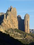 Mallo Fire. Rock spires known as Mallos de Riglos, Huesca, Aragon, Spain Royalty Free Stock Photography
