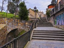 Mallona Gate and Stairs in Bilbao Stock Image
