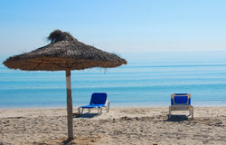 Mallorca. Relax on the sunny beach on the island mallorca royalty free stock photography