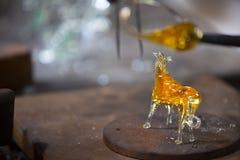Mallorca. Algaida Es Pla, Majorca / Spain - August 25, 2016: A horse created at handmade glass manufacturing factory Guardiola, Algaida Es Pla, Mallorca royalty free stock image