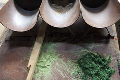 Mallorca. Algaida Es Pla, Majorca / Spain - August 25, 2016: A powders of oxides at handmade glass manufacturing factory Guardiola, Algaida Es Pla, Mallorca stock photography