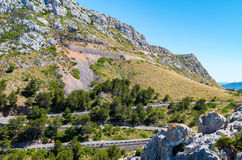 Mallorca, Balearic Islands: Cap de Formentor seen from Mirador C. Olomer, winding road Royalty Free Stock Image