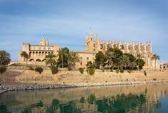 Landmarks La Seu cathedral and Almudaina castle in Palma. MALLORCA, BALEARIC ISLANDS, SPAIN - NOVEMBER 24 2017: Landmarks La Seu cathedral and Almudaina castle Royalty Free Stock Photo